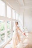 室内美丽的新娘画象  在演播室塑造华美的婚礼礼服的新娘女孩 库存照片