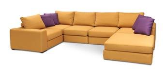 室内装饰品沙发与在与裁减路线的白色背景隔绝的枕头的角落集合 免版税图库摄影