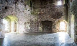 室内视域在杜恩城堡,在杜恩附近村庄的中世纪堡垒,在中央苏格兰的斯特灵区 免版税库存照片