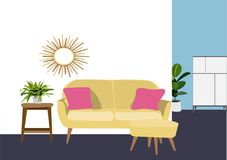 室内设计传染媒介例证 客厅装饰 客厅家具 库存图片