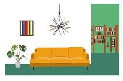 室内设计传染媒介例证 客厅装饰 客厅家具 图库摄影