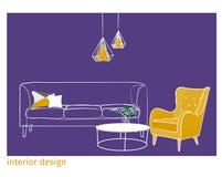 室内设计传染媒介例证 附庸风雅独特的样式 免版税库存照片