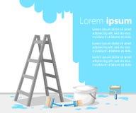 室内设计在白色背景传染媒介例证的墙壁上凌乱了与大厦工具和剪影画的概念室 库存例证