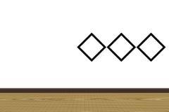 室内设计墙壁和地板与照片框架 免版税库存照片