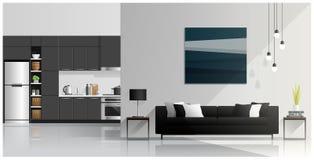 室内设计有现代客厅和厨房背景 免版税库存照片