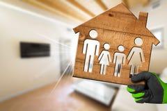 室内设计概念-有家庭的式样议院 免版税库存图片