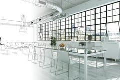 室内设计现代顶楼图画渐进性到照片里 免版税图库摄影