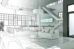 室内设计现代顶楼图画渐进性到照片里 免版税库存照片