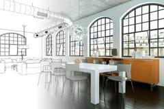 室内设计现代顶楼图画渐进性到照片里 库存照片