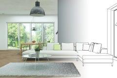 室内设计现代顶楼图画渐进性到照片里 库存图片