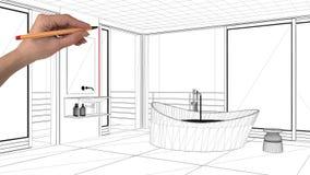 室内设计项目概念,手图画习惯建筑学,黑白墨水剪影,显示现代卫生间的图纸 图库摄影