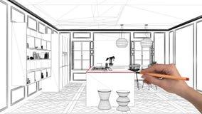 室内设计项目概念,手图画习惯建筑学,黑白墨水剪影,显示现代厨房wi的图纸 库存图片