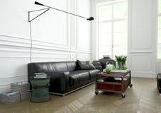 室内设计,客厅 3d翻译 免版税库存照片