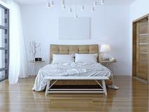 室内设计:大现代卧室 库存照片