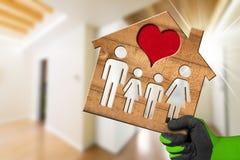 室内设计-式样家的心脏和家庭 免版税库存图片