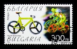 室内赛跑的自行车,自行车serie,大约1999年 库存照片