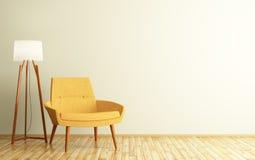 室内部有扶手椅子和落地灯3d翻译的 免版税库存图片