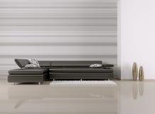 室内部有沙发的3d回报 免版税图库摄影