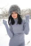 室外冬天的风景的好女孩 库存照片