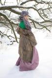 室外冬天的风景的好女孩 库存图片