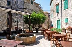 室外咖啡馆,克罗地亚 免版税库存照片