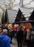室外圣诞节市场 库存图片
