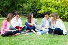 室外学习的小组的学生 免版税库存照片