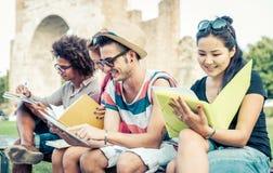 室外学习的小组的学生 库存照片