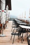 室外山餐馆在南Tyrolean阿尔卑斯 免版税库存图片