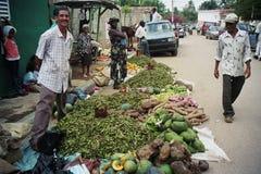 室外市场在多米尼加共和国 蔬菜和水果stallholder 免版税库存图片