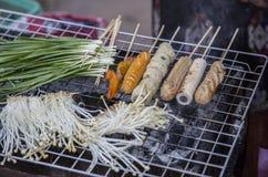 室外市场在老挝 免版税图库摄影