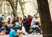 室外教室在里斯本,葡萄牙 图库摄影