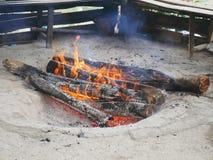 室外火坑在拉姆萨尔,伊朗 库存照片