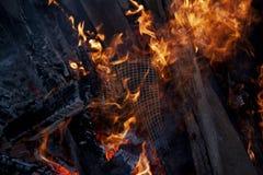 室外火焰状的火 库存图片