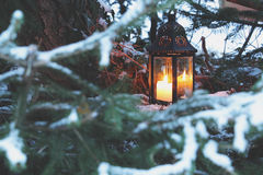 室外灯笼的蜡烛 库存图片