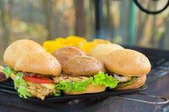室外烤的汉堡 用乳酪,葱,沙拉,蕃茄 免版税图库摄影