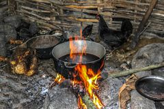 室外烹调区域在农村海地 库存照片