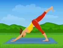 室外瑜伽的锻炼 库存照片