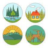 室外生活Symbol湖森林议院鹿鸭子 库存图片