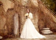 室外的婚礼礼服的新娘美丽的妇女- 免版税库存图片