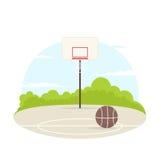 室外的篮球场 向量例证