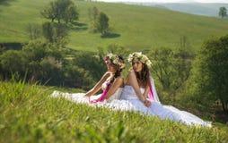 2室外的美丽的新娘,坐田园诗的草- 图库摄影