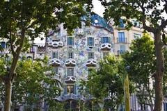 室外看法Gaudi ` s房子住处Batlo 免版税库存照片