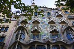 室外看法Gaudi ` s房子住处Batlo 免版税库存图片