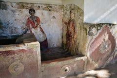 室外装饰在辛特拉全国宫殿庭院里  库存图片