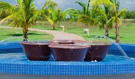 室外装饰的水池出色的意见与大大理石肠的里面反对热带庭院背景 库存照片