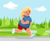 室外连续医疗保健奔跑公园心脏应用程序智能手机动画片逗人喜爱的妇女健身字符设计传染媒介 向量例证