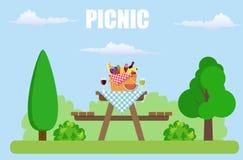 室外野餐在公园 向量例证