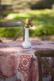 室外野餐的简单表 库存照片
