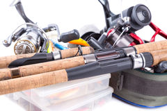 室外钓具和诱饵 库存图片